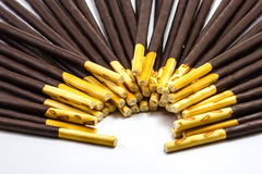 Chocolate Cream Covered Biscuit Sticks Royalty Free Stock Photography