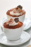Chocolate cream cupcakes Royalty Free Stock Images