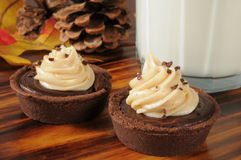 Chocolate cream dessert tarts Royalty Free Stock Images