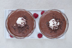 Chocolate cream dessert. With whipped cream in glass Stock Images