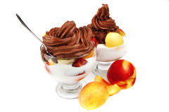 Chocolate cream with fruits Royalty Free Stock Photography