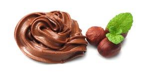 Chocolate cream with hazelnut isolated on white background Stock Image