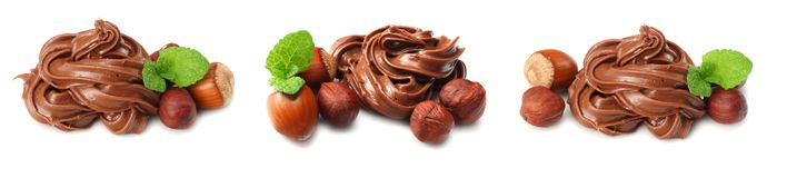 Chocolate cream with hazelnut isolated on white background. Chocolate cream collection. set royalty free stock photo