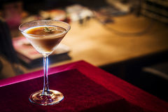 Chocolate and cream martini in bar at night Royalty Free Stock Photo