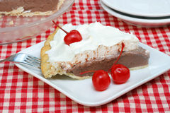 Chocolate Cream Pie with Maraschino Cherries Stock Photos