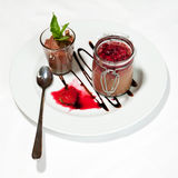 Chocolate cream with raspberries Stock Image