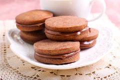 Chocolate cream sandwich biscuits Stock Photos