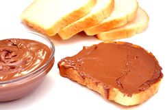 Chocolate cream and toast Royalty Free Stock Images