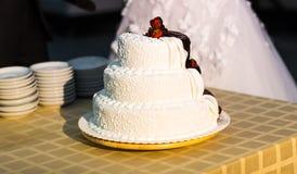 Chocolate-cream wedding cake Stock Images