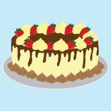 Chocolate creamy cake illustration Stock Image