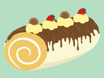 Chocolate creamy cake roll illustration. Sweet food chocolate creamy cupcake set isolated illustration Royalty Free Stock Photography