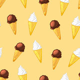 Chocolate and creamy ice cream cones on a beige background. Seamless pattern. Vector cartoon illustration royalty free illustration