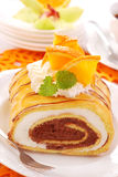 Chocolate-creamy roulade Royalty Free Stock Images