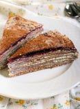 Chocolate Crepe cake Stock Image