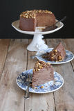 Chocolate crepe cake with roasted walnuts Stock Photos