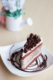 Chocolate crepe cake Stock Photos
