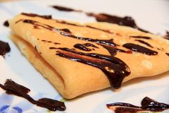 Chocolate crepe Stock Photo