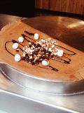 Chocolate crepe with marshmallow Stock Photo
