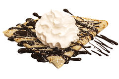 Chocolate crepe with sugar and whipped cream. A chocolate crepe with sugar and whipped cream isolated on a white background stock photography