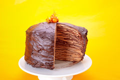 Chocolate Crepes Cake Stock Photography