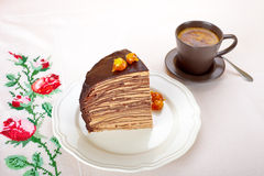 Piece of Chocolate Crepes Cake Royalty Free Stock Photos