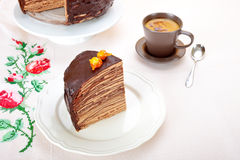 Chocolate Crepes Cake Royalty Free Stock Photos