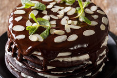 Chocolate crepes cake with whipped cream and almonds macro. hori Stock Photo