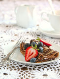 Chocolate crepes with fresh berries Stock Photo