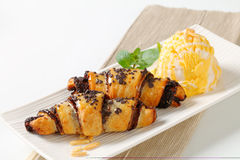 Chocolate crescent rolls with ice cream Royalty Free Stock Images