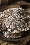 Chocolate Crinkle Cookies with Powdered Sugar Royalty Free Stock Photo