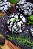 Chocolate crinkle cookies surrounded by Christmas attributes. On a wooden board Stock Photography