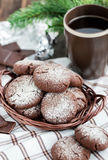Chocolate crinkles cookies. On festive background Stock Photo