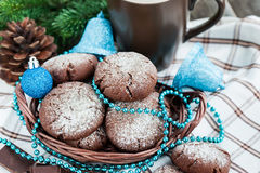 Chocolate crinkles cookies Royalty Free Stock Photography