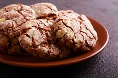 Chocolate crinkles cookies on plate Stock Photography
