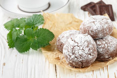Chocolate Crinkles.  cookies with powdered sugar Royalty Free Stock Image