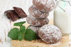 Chocolate Crinkles.  cookies with powdered sugar Royalty Free Stock Photography