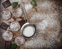 Chocolate Crinkles. Cooking cookies with powdered sugar. Copy space Royalty Free Stock Photography