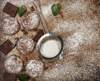 Chocolate Crinkles. Cooking cookies with powdered sugar. Copy space Royalty Free Stock Photos