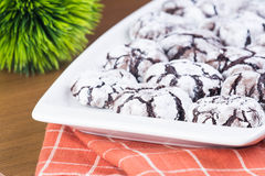 Chocolate crinkles. Homemade cracked powdered sugar chocolate crinkled Stock Photos