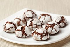 Chocolate crinkles on a plate Stock Photo