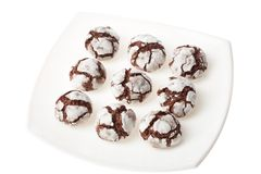 Chocolate crinkles on a plate Stock Photography