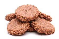 Chocolate Crisp Rice and Caramel Cake. On a White Background stock image