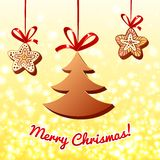 Chocolate cristmas tree on lights background Royalty Free Stock Photography