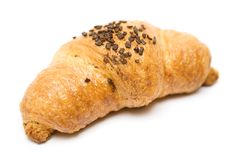 Chocolate Croissant. Baked croissant with chocolate isolated on a white background Royalty Free Stock Images