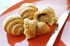 Chocolate croissant stock photography