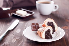 Chocolate croissant and coffee ab Stock Images