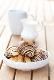 Chocolate croissant in an outdoor setting. Royalty Free Stock Image