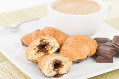 Chocolate Croissants and Cappuccino. Stock Image