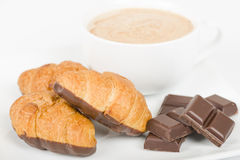 Chocolate Croissants and Cappuccino. Royalty Free Stock Photo