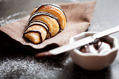 Chocolate croissants Stock Images
